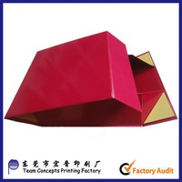 Red glossy foldable Wedding Dress packaging magnet closure rigid gift Box