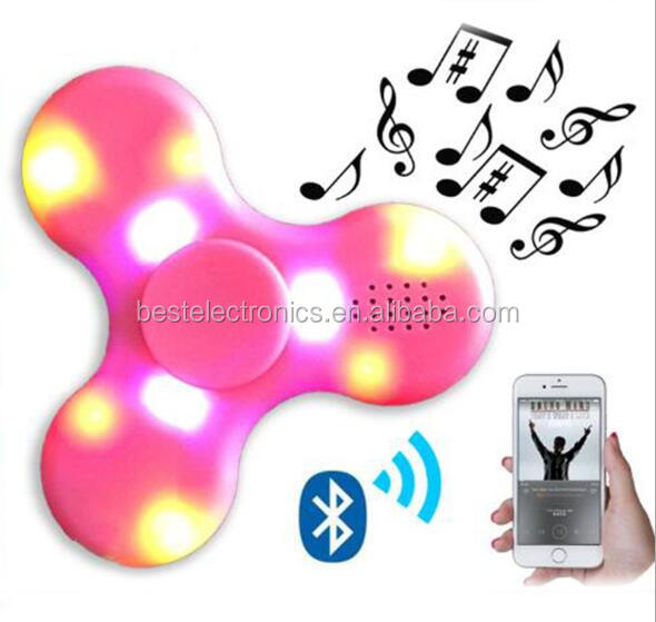 2017 Hot Sales EDC LED bluetooth speaker Spinner Fidget toys Ceramic Finger Hand torqbar finger Toys