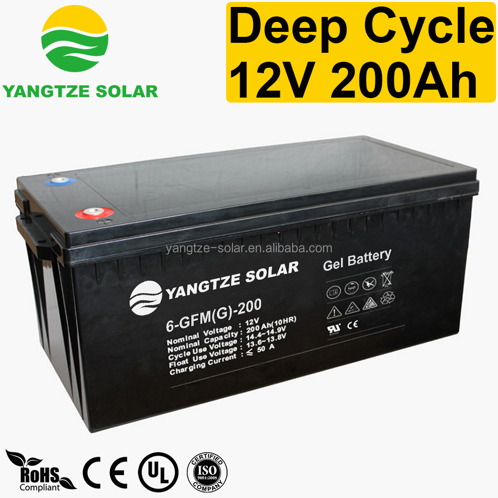 Yangtze First grade quality solar gel battery 12v 200ah