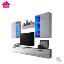 Wall Mounted European White MDF Wood LED Modern TV Stand Unit