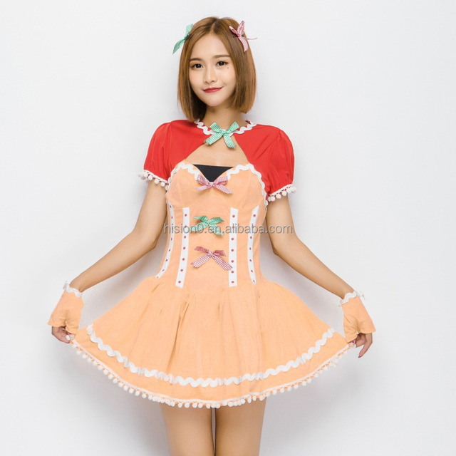 Fancy Red Waistcoat Joint Orange Leakage Chest Short Dress Costume