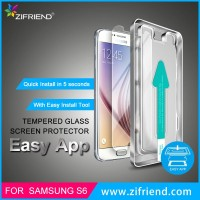 Quick Install Clear Tempered Glass Screen Protector for Samsung S6