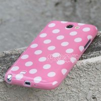 polka dot tpu rubber cover case for samsung galaxy note 2