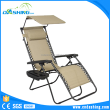 Folding Zero Gravity Recliner Lounge Chair With Canopy Shade & Cup Holder