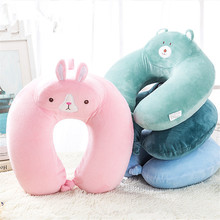 Cute Animal Pattern U Shaped Polyester Memory Foam Pillow Travel Neck Pillow