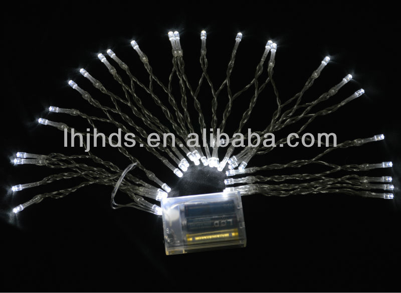 LED Christmas light of white color operated by battery