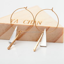 Trendy Style Gold Plated Big Circle Geometric Pendant Hoop Round Earrings Jewelry for Women