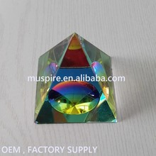 Beautiful Religonal Glass Crystal Pyramid 3D Laser Free Engraving for Business Gift