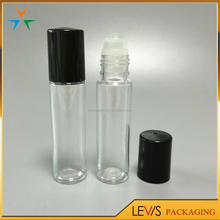 Black cap cosmetic empty clear perfume roll on bottle