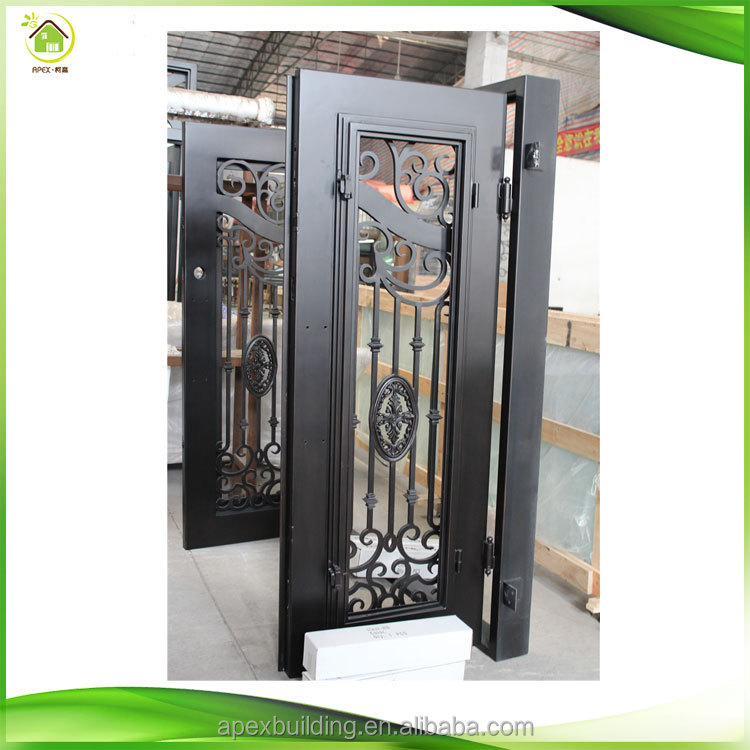 Wrought iron and glass door parts iron art security door