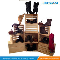 Creative Branded Wood Shoe Store Display Crates