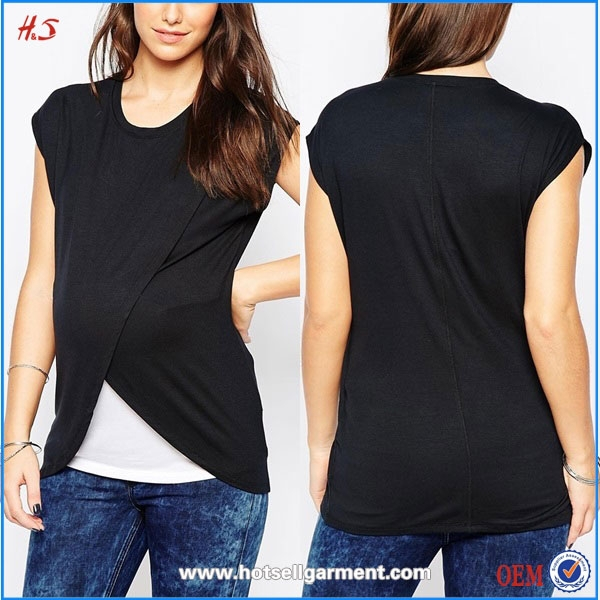 Lady Hot Sale Pregnancy Nursing Maternity T Shirts With Wrap Overlay 2015