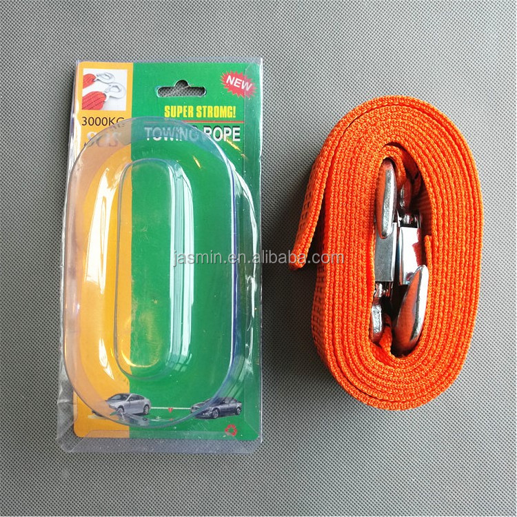 High Quality Wholesale Super Strong Auto Emergency 3 Ton Tow Rope For Cars Tow Strap