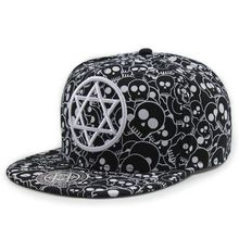 Custom Full Skull Printed Hip Hop Hats Graffiti Stitching Color Snapback Caps Wholesale