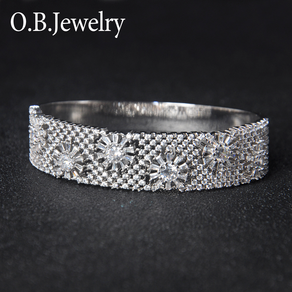 Arabic Solid Silver Jewelry Rhodium plating Mother's Flower Bangle