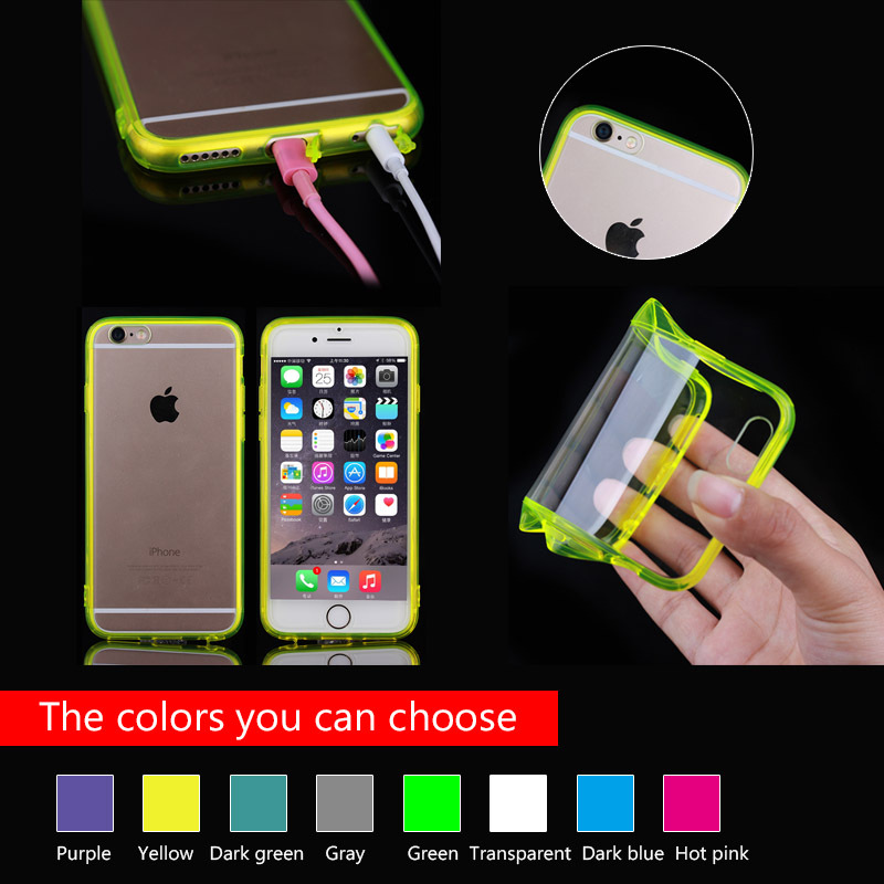 Ultra-slim crystal PC back case with TPU side for iPhone 6 cover