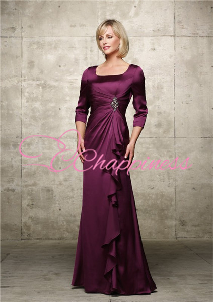 satin square neck mother of the bride groom tropical dresses with sleeve evening gowns
