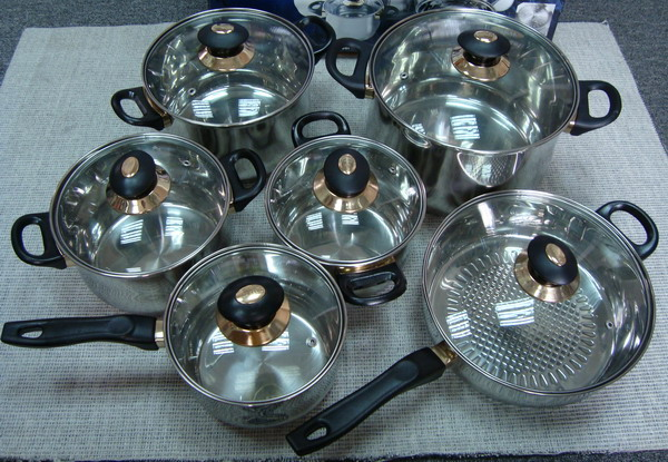 12Pieces Stainess Steel Cookware Pot Set With Brown Color Lid