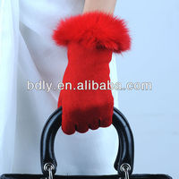 New Sries Red color alpaca dress wool gloves with fluffy rabbit hair