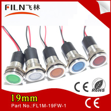 19mm Flat signal light 12v 120v led red indicator lamp with 20cm wire