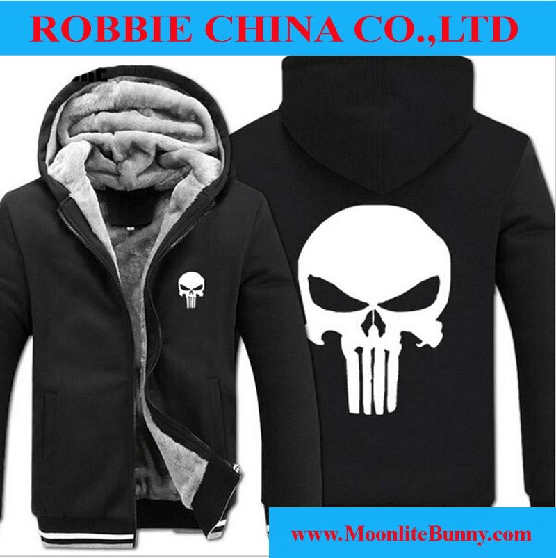 2016 New Fashion Winter Warm The Punisher Hoodies Anime skull Hooded Coat Thick down men Drake Suits cardigan Jacket Sweatshirts