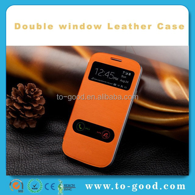 Fashion PU Leather Dual Windown Cell Phone Cover For Samsung Galaxy S5 Mini Case (Orange)