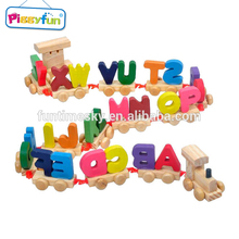 2018 Wholesale wooden alphabet letters train block AT11688