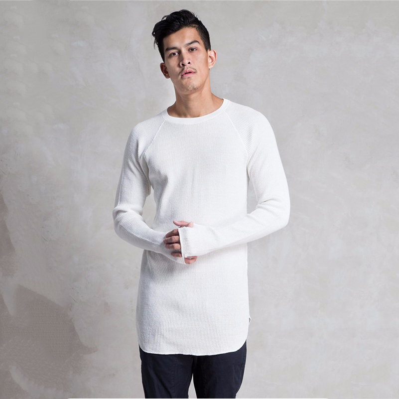 Cheap Custom Men's White T-shirt Long Sleeve Extra Long T ...