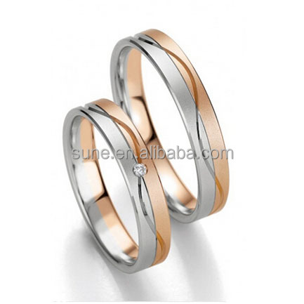 18K Rose Gold Plated Stainless Steel Titanium Wedding Band Couple Rings for Men and Women