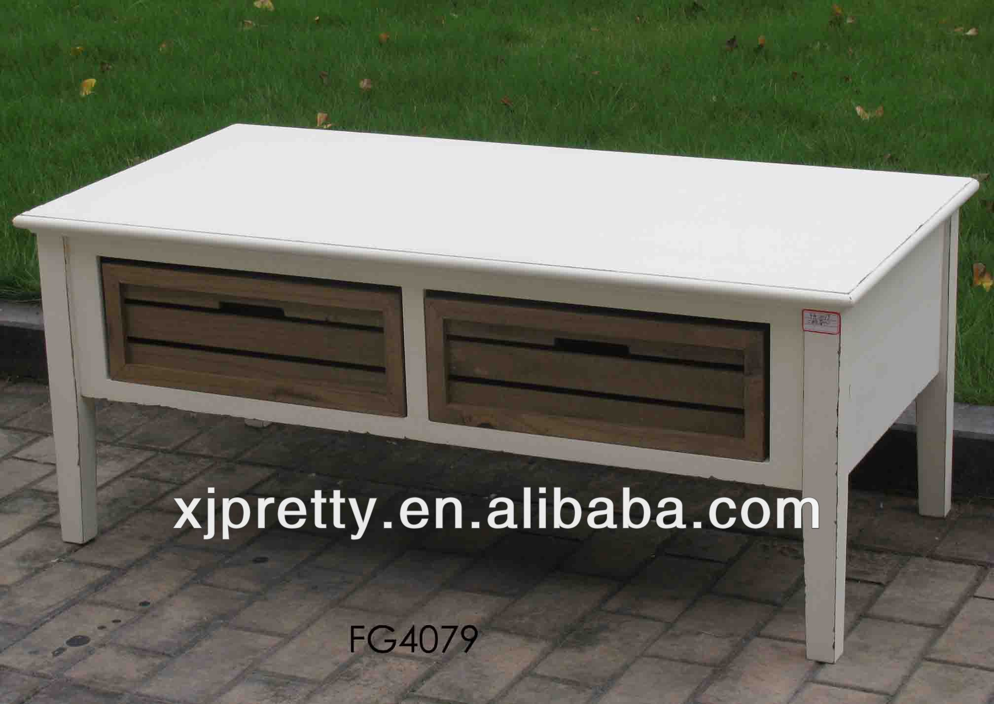 antique white wooden 2 drawer coffee table indoor furniture