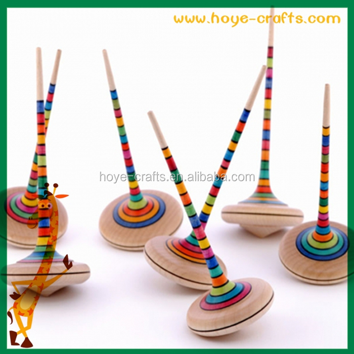 2016 new promotion items wooden striped spinning top