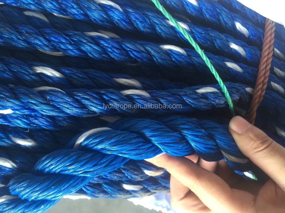 Blue pp monofilament 3 strand twist rope/ pe rope/cord/poly rope