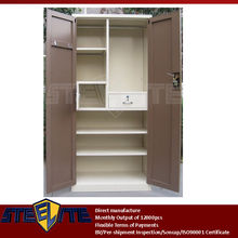 2 door steel bedroom cupboard design/furniture brown two doors beige metal almirah with inside lockable chest & drawer