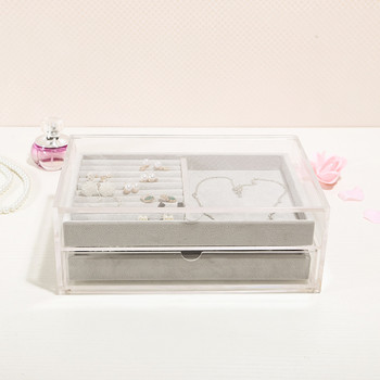 Transparent dustproof acrylic jewelry storage box storage earrings