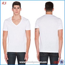 Clothing Manufacturers Bulk Wholesale Clothing Low Price Men V Neck White T Shirts
