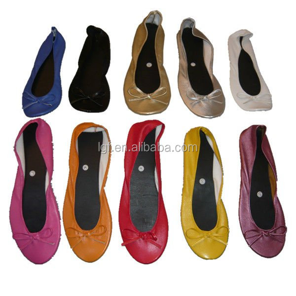 Indispensable women flats shoes foldable ballet flat in bag roll up flats with PU bag ballerina flats