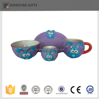 unique design hot sell ceramic dinnerware set with plate bowl cup egg cup