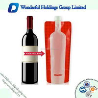 Laminated plastic spout pouch bag for juice / wine / liquid stand up pouch with spout