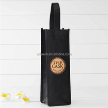 wholesale non-woven wine tote bag order and green wine gift shopping bag