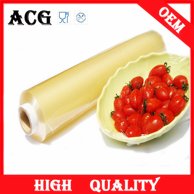 light yellow wrapping transparent cast cling film