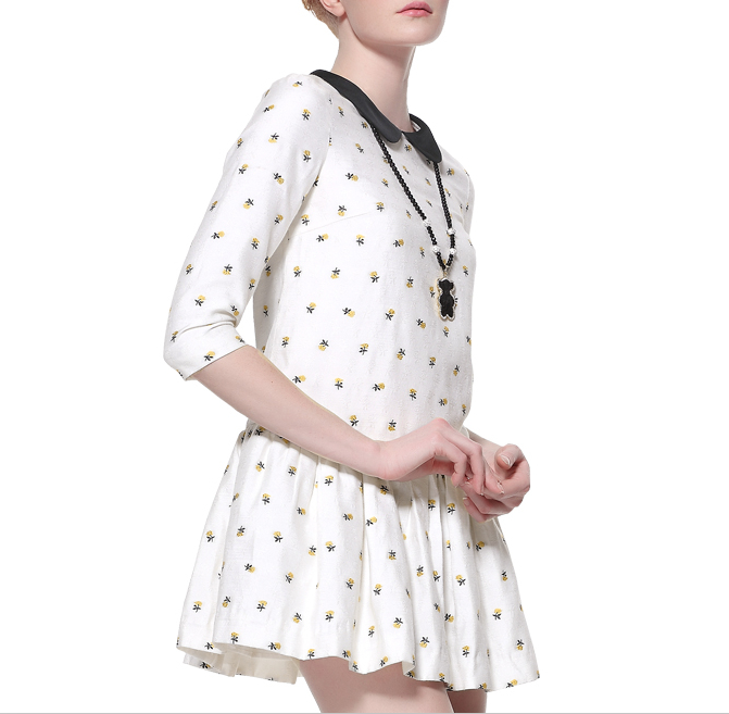 Ladies Daisy Cotton Printed Dress Material Pattern with Flounce