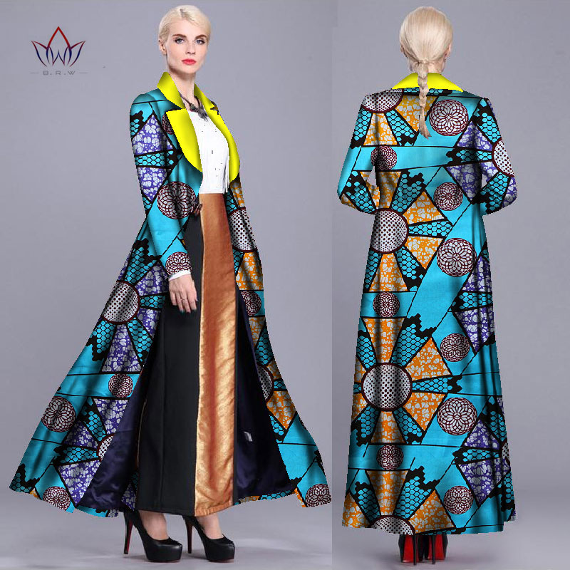 spring autumn 2016 Women long Coat African dresses for women clothing Ankara batik wax print long sleeve jacket clothes BRW WY90
