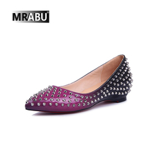 latest elegant fancy pointed toe rivet leather shiny ladies casual flat women shoes