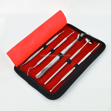 5 PCS Professional Surgical Grade Stainless Steel Dental Hygiene Kits With Leather Bag Dentist Approved Tools