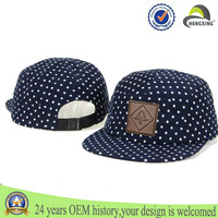 Wholesale Custom 5 panel cap polka dot navy blue corduroy fabrics snapback hat cap