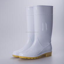 White Shinny clear pvc ladies rain boots , women wellington boots ,pvc safety rainboots factory