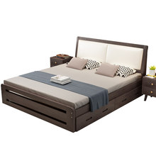 Wood Double bed with soft bedside bed