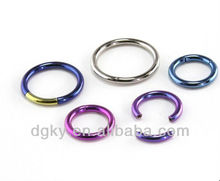 Titanium anodized segment ring, body piercing captive ring jewelry