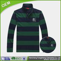 OEM 100 % cotton striped long sleeve men's polo t shirt