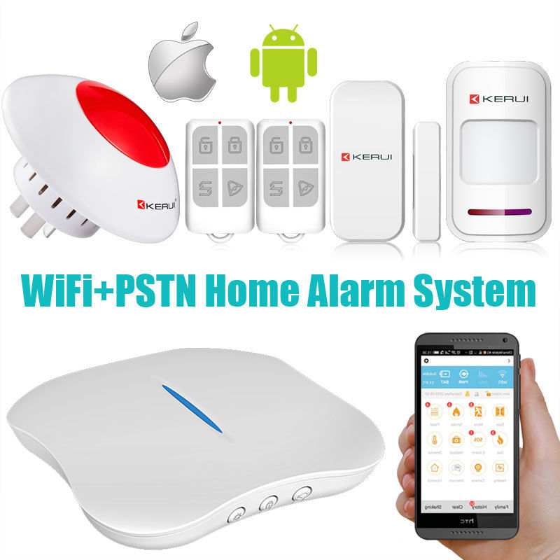 2017 KERUI home security automation system WIFI PSTN control server monitored home alarm systems KR-W1